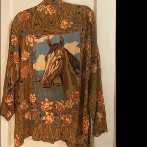 1980s Vintage Todd Oldham horse back silk shirt